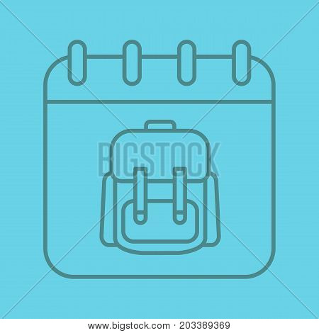 September 1st color linear icon. Calendar page with student's backpack. Thin line outline symbols on color background. Vector illustration