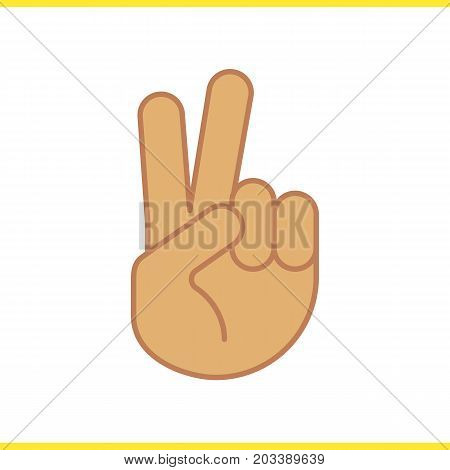 Peace hand gesture color icon. Two fingers up. Isolated vector illustration