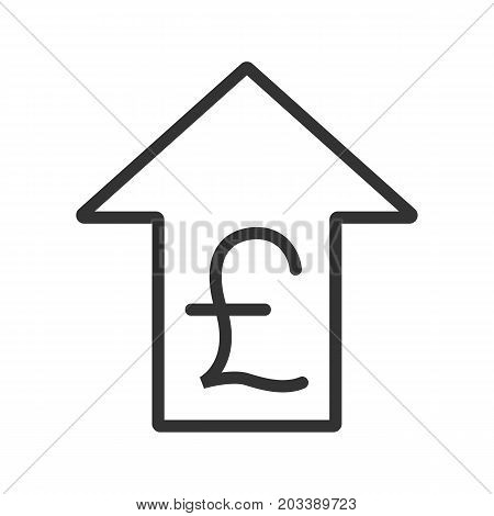 Pound rate rising linear icon. Thin line illustration. Great Britain pound with up arrow contour symbol. Vector isolated outline drawing
