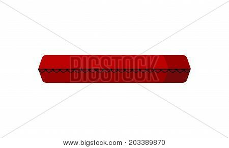 Closed Coffin Isolated. Red Wooden Coffin. Vector Illustration