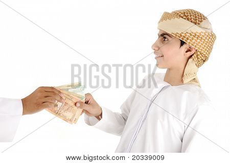 Arabic people, islamic zakat or sadaka, adult giving money to child poster