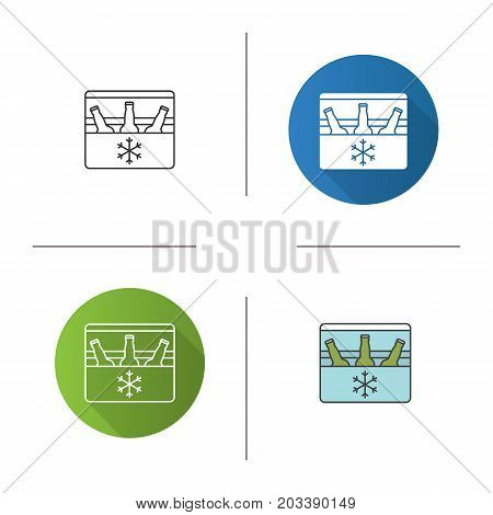 Portable refrigerator icon. Flat design, linear and color styles. Portable fridge with beer bottles. Isolated vector illustrations