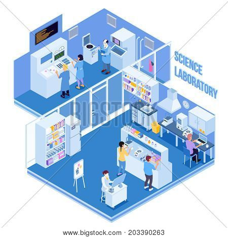 Science laboratory with professional equipment and people carrying physical and chemical research and experiments  isometric vector illustration