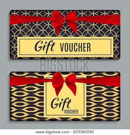 Vintage Luxury Golden Ornate Gift Voucher with Red Bow and Ribbon Template Vector Illustration for Your Business EPS10