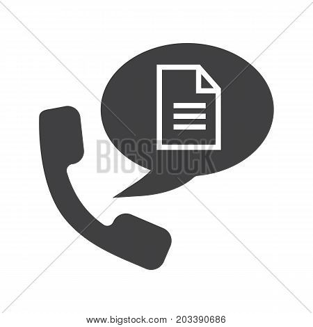 Phone call for instructions glyph icon. Silhouette symbol. Handset with document inside speech bubble. Negative space. Vector isolated illustration