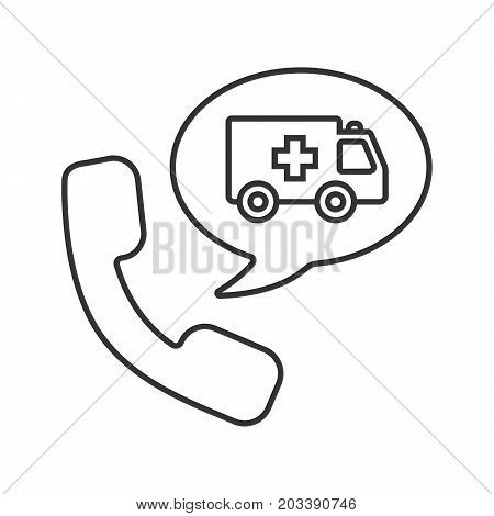 Phone call to ambulance linear icon. Thin line illustration. Handset with emergency car inside chat box contour symbol. Vector isolated outline drawing