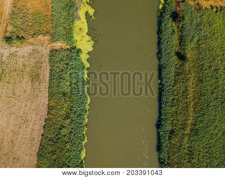 Aerial view of the river from drone point of view top view