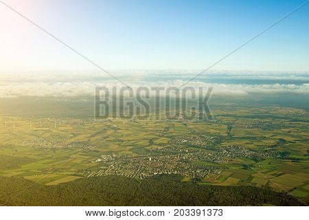 Aerial view of towns and fields in Germany.