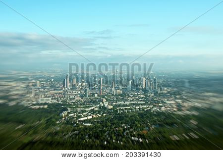 Aerial view of Frankfurt am Main Germany.