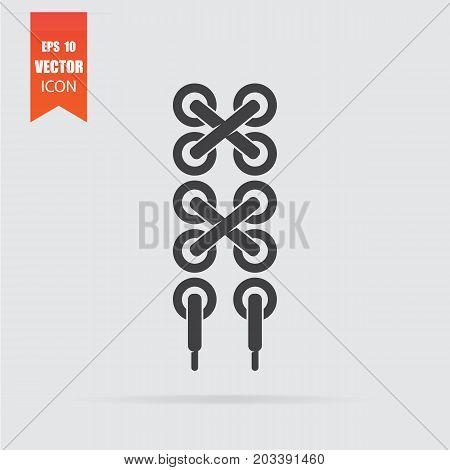 Shoelace Icon In Flat Style Isolated On Grey Background.