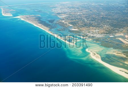 Aerial view of Olhao city in Portugal.