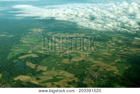 Aerial view of villages and fields in Germany.