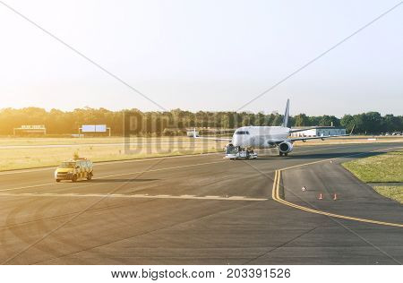 The plane is preparing to take off.