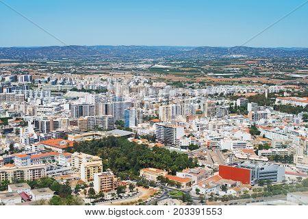 Aerial view of Faro city, Algarve, Portugal.