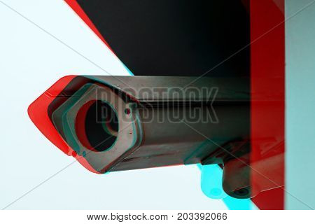 Full circuit or closed circuit CCTV camera with digital glitch effect for outdoor surveillance and private property protection