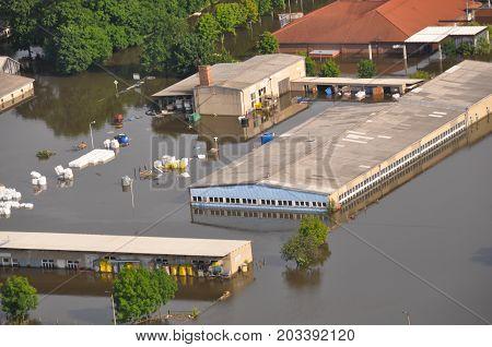GERMANY, SAXONY-ANHALT - Juno 12, 2013: Flooded company near Fischbeck in Saxony-Anhalt, Germany.