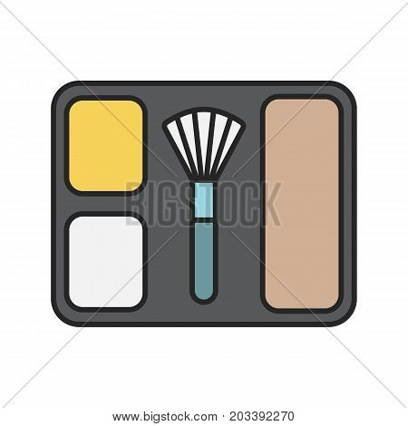 Blusher color icon. Blusher box with brush. Isolated vector illustration