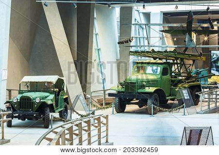 Minsk, Belarus - December 20, 2015: Soviet four-wheel drive Army Truck GAZ-67 and Katyusha multiple rocket launchers BM-13N on Lend-Lease Studebaker truck In Belarusian Museum Of Great Patriotic War