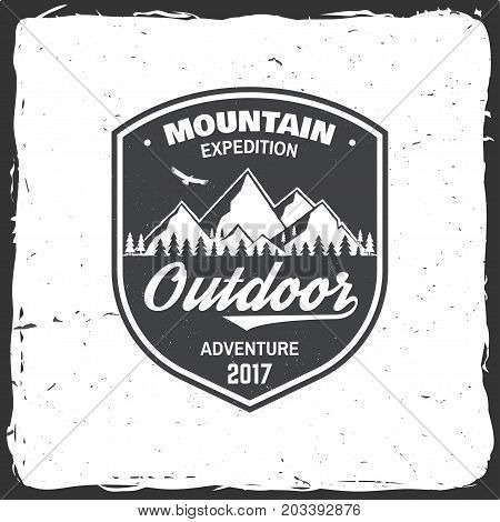 Mountain expedition badge. Vector illustration. Concept for shirt or logo, print, stamp or tee. Vintage typography design with soaring eagle and mountain silhouette.