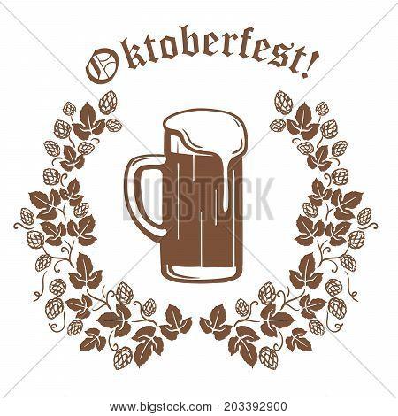 beer mug full of beer with foam top and fragrant hopsr. craft beer. oktoberfest