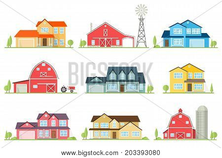 Vector flat icon suburban american house and old farm. For web design and application interface, also useful for infographics. Family farm and house icon isolated on white background.