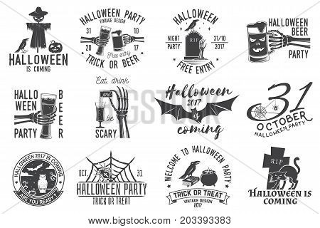 Set of Halloween party concept. Halloween party retro templates, badges, seals, patches. Concept for shirt or logo, print, stamp. Typography design- stock vector.