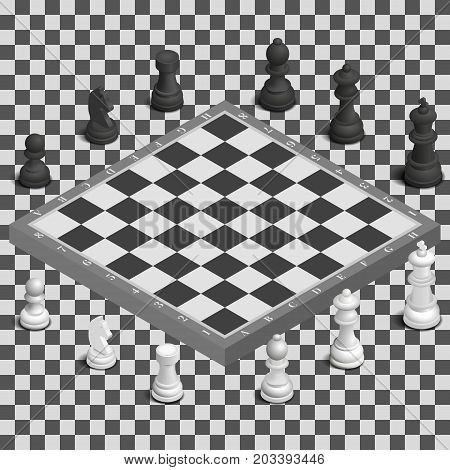 Chessboard with photo realistic black and white figures. 3D isometric style vector illustration.
