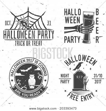 Set of Halloween vintage badges. Typography design with skeleton hand and glass of beer, owl, raven, bat, web and spider. Happy Halloween- stock vector. For shirt, logo, print, stamp.