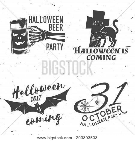 Set of Halloween vintage badges. Typography design with skeleton hand and glass of beer, cat, raven, bat, web and spider. Happy Halloween- stock vector. For shirt, logo, print, stamp.