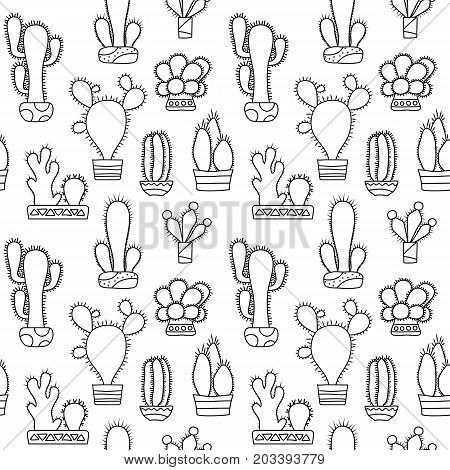 Black and white outlined cactus vector seamless pattern. Cactus doodle on white background. Houseplant pattern tile. Cacti in pot surface design. Nature coloring page. Hipster succulent texture swatch