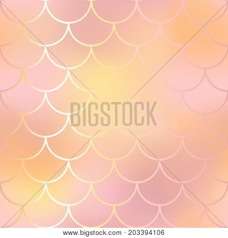 Blush pink and orange fish skin background. Fantastic gold fish scale pattern. Mermaid vector pattern. Fish scale seamless pattern in pink color. Rose gold mermaid tail texture. Wedding background