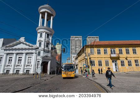 Curitiba, Brazil - July 21, 2017:Old Town of the 8th most populous city in Brazil.