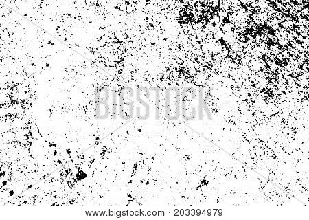 Distressed and rough concrete floor vector texture. Grunge texture with grain and stains. Weathered asphalt surface. Black and white grit trace. Obsolete vintage overlay on transparent background