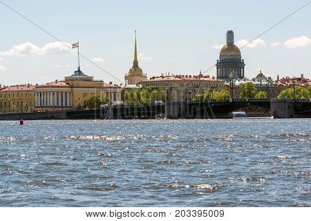 St. Petersburg, Russia - June 04. 2017 View of the Palace Bridge, Admiralty and St. Isaacs Cathedral