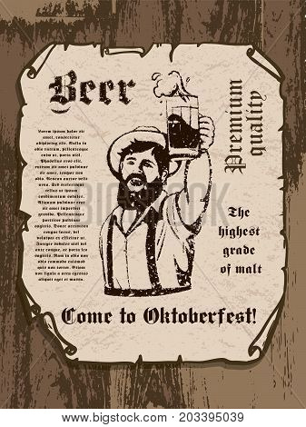 bearded man with a beer mug in his hand. oktoberfest