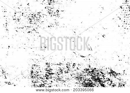 Distressed and rough concrete floor vector texture. Obsolete texture with grain and stains. Weathered asphalt surface. Black and white grit trace. Grunge vintage overlay on transparent background