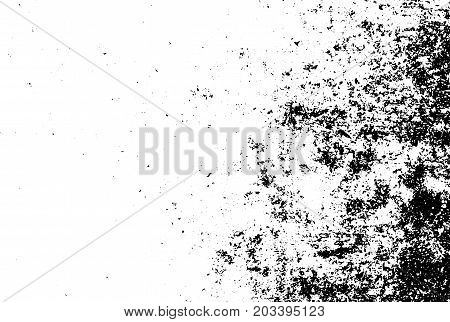 Distressed and rough concrete floor vector texture. Gradient texture with grain and stains. Weathered asphalt surface. Black and white grit trace. Obsolete vintage overlay on transparent background