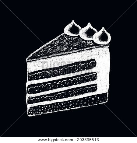 White chalk cake piece drawing on blackboard. Sweet pie piece doodle illustration. Cafe or coffee bar menu. Creamy cake piece chalkboard. Taste dessert in retro style. White cream layered cake dessert