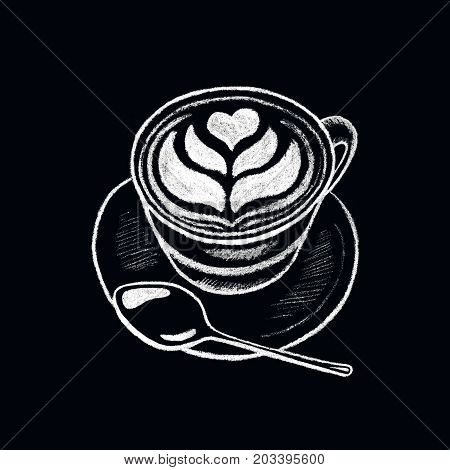 Coffee cup with heart white chalk on blackboard. Cappuccino with milk foam. Coffee shop or cafe menu handdrawn illustration. Cup of coffee chalkboard drawing. Coffee lover. Hot beverage. Energy drink