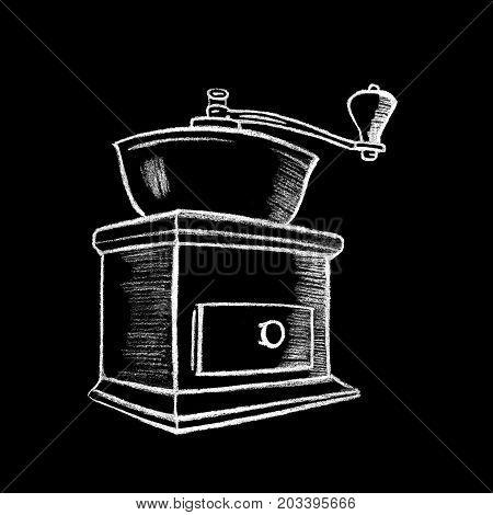 White chalk vintage coffee grinder drawing. Classical vintage coffee grinder. Coffee drinking object by white chalk on chalkboard. Blackboard coffee grinder icon for cafe or restaurant menu decor