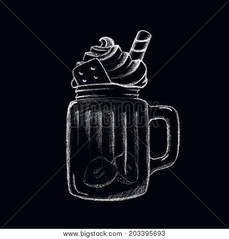 White chalk ice coffee drink on blackboard. Drink cup isolated. Dessert in glass cup. Tasty dessert with cream top. Coffee drink cup. Sweet coffee drink illustration for cafe menu. Yummy dessert icon