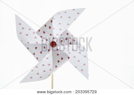 Hearts Paper Pinwheel Isolated On White Background