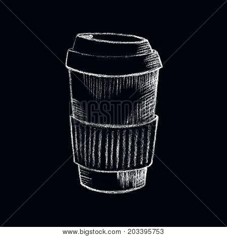 Paper coffee cup white chalk on blackboard. Coffee shop or bar menu handdrawn illustration. Paper cup of takeaway coffee chalkboard drawing. Coffee take away. Hot beverage. Energy drink to take away
