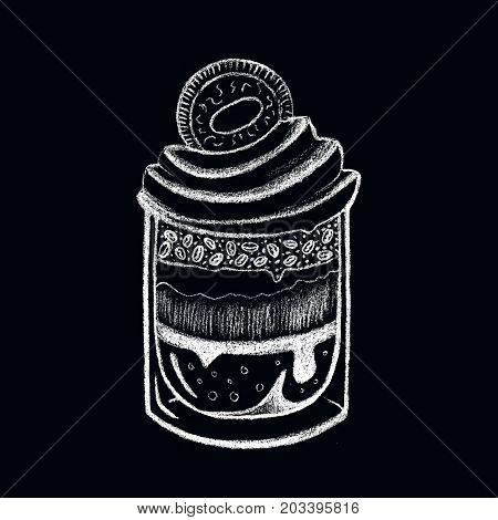 White chalk dessert and lettering on blackboard. Tiramisu dessert in glass. Creamy dessert with cookie. Coffee bean in cream. Sweet snack illustration for cafe menu. Layered tiramisu dessert poster