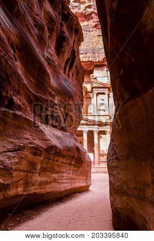 View of El Khasneh (The Treasury) seen from the Canyon al-Siq in Petra Jordan