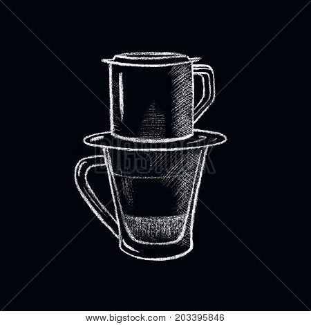 White chalk Vietnamese coffee cup. Vietnam style filtered coffee handdrawn illustration. Glass cup and coffee filter cup. Asian coffee drinking tradition. Hot beverage drawing for cafe menu or decor