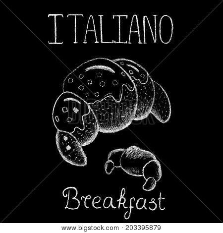 White chalk croissant and lettering on black background. Fresh croissant for italian breakfast. Chocolate glazed pastry. Bakery shop or Coffee bar menu. Bread icon. Croissant logo. Bakery chalk sketch