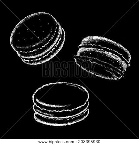 White chalk macarons drawing. French cookie with cream. Delicious dessert chalkboard illustration for cafe or coffee bar menu. Sweet cookie macaroon. Delicious food dessert. Macaron icon on blackboard