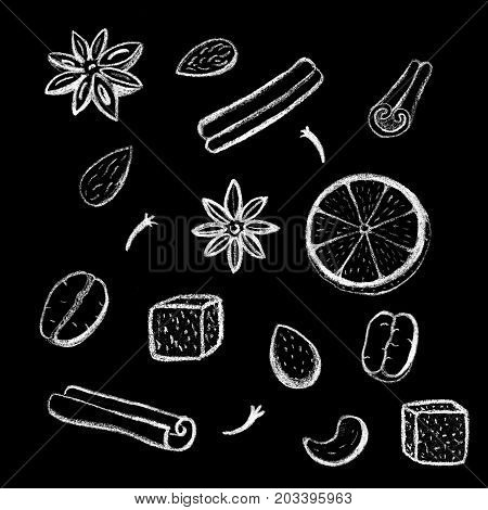 White chalk coffee beans and spices drawing. Coffee beans and spices handdrawn illustrations. Cinnamon stick clove anise. Orange almond and cashew nut. Coffee flavor icons. Coffee spices chalk logo