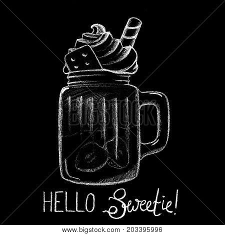 White chalk ice coffee drink and lettering on blackboard. Creamy dessert in glass. Tasty dessert with cream top. Coffee drink cup. Sweet coffee drink illustration for cafe menu. Yummy dessert poster